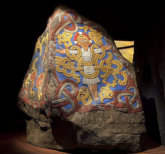 A replica of the 'Jelling stone', erected by King Harald Bluetooth in the late 10th century