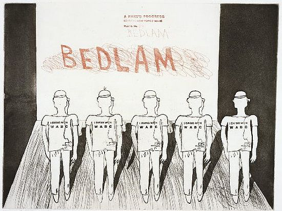 Hockney Bedlam, A Rake's Progress, 1961