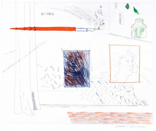 Hockney Blue Guitar Etching is the Subject, 1976-77
