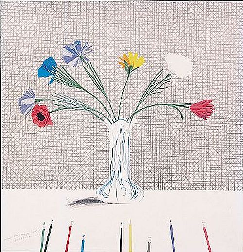 Hockney Coloured Flowers made out of Paper and Ink, 1971
