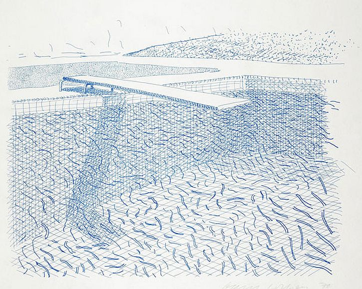 Hockney. Lithographic Water Made of Lines, 1978