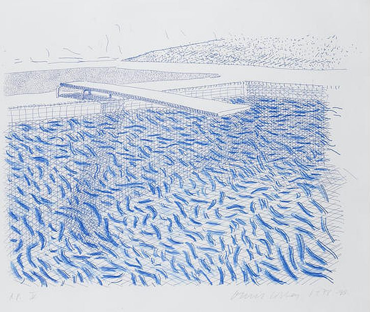 Hockney Lithographic Water Made of Lines and Crayon, 1978