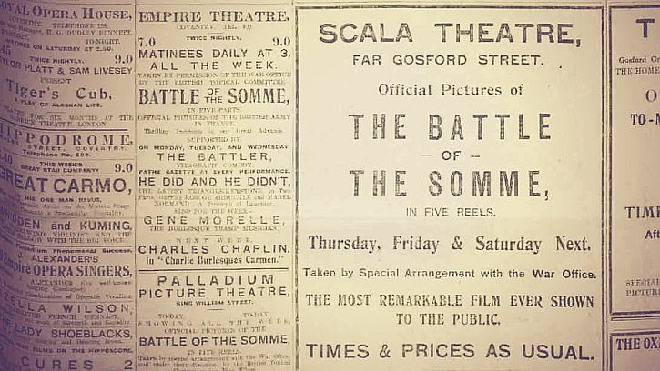 Newspaper advert for a screening of The Battle of the Somme