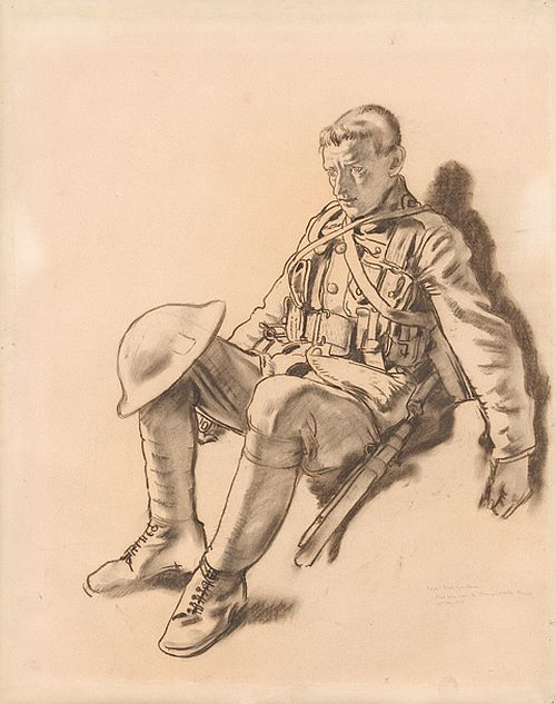 Orpen, Royal Irish Fusiliers 'Just come from the Chemical Works, Roeux, 21st May 1917'