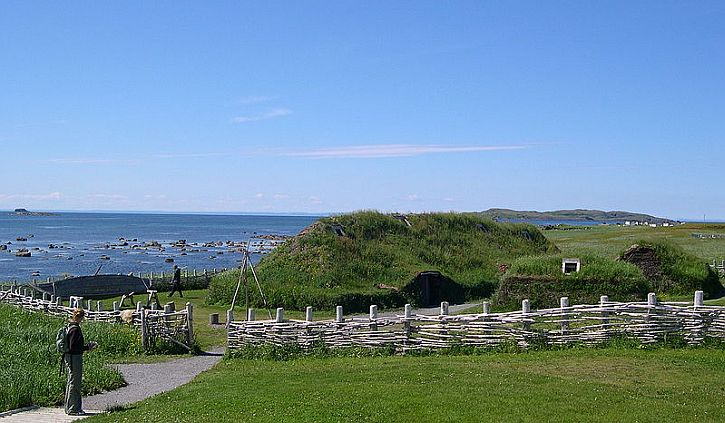 Reconstruction of Viking settlement at L'Anse aux Meadows, Newfoundland, Canada