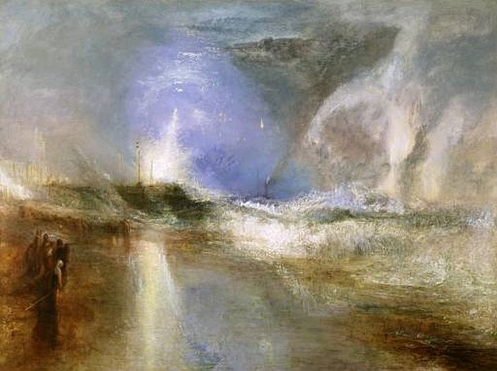 Rockets and Blue Lights (Close at Hand) to Warn Steam Boats of Shoal Water exhibited 1840 by Joseph Mallord William Turner 1775-1851