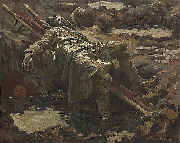 The Dead Stretcher-Bearer by Gilbert Rogers, 1919