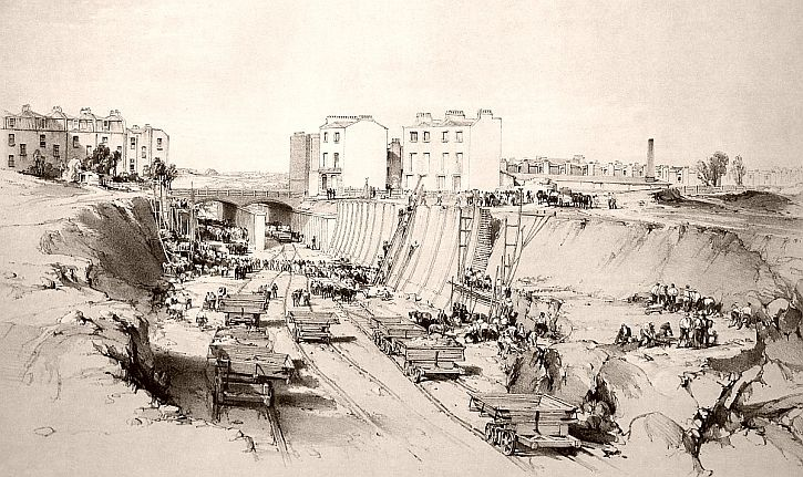 Constructing the cutting at Park Street, Camden Town, 1837. Wash drawing by J. C. Bourne.