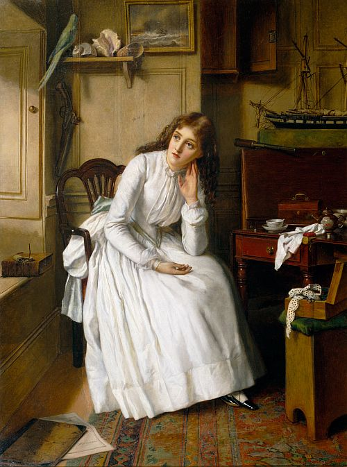 Florence Dombey in 'Captain Cuttle's Parlour'; by William Maw Egley,1888