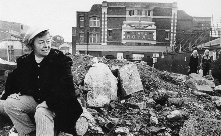 Joan Littlewood outside Theatre Royal Stratford