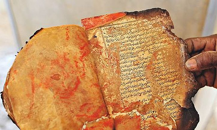 A damaged Timbuktu manuscript saved during the rescue operation