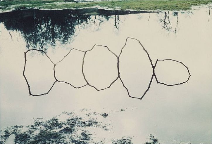 Andy Goldsworthy, Forked Twigs in Water - Bentham, 1979