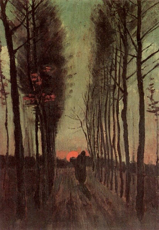 Avenue of Poplars at Sunset by Vincent van Gogh, 1884