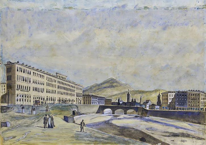 Le quai Masséna et le pont neuf vers 1830