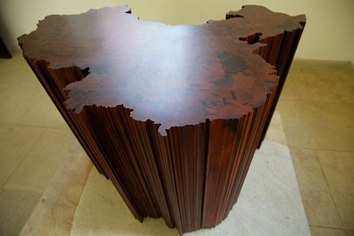 Map of China, 2008 made from wood reclaimed from Qing dynasty temples