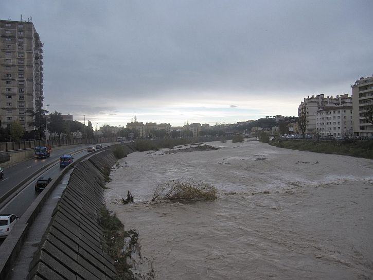 The Paillon after the 25 December storm 2013
