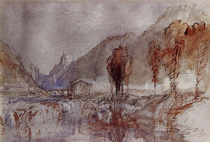 Turner, A distant castle with poplar trees beside a river,1840