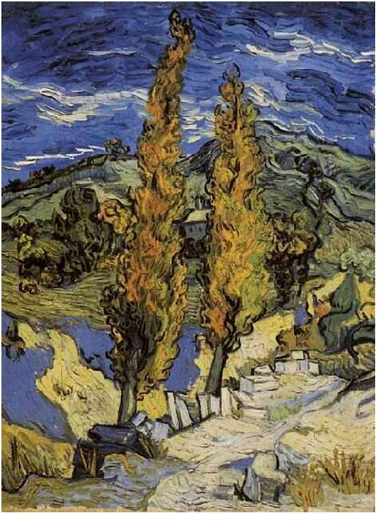 Vincent van Gogh Two Poplars on a Road Through the Hills, 1889
