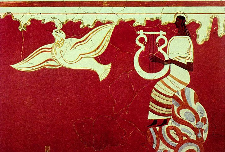fresco depicting lyre player with a bird, palace of Nestor, Pylos