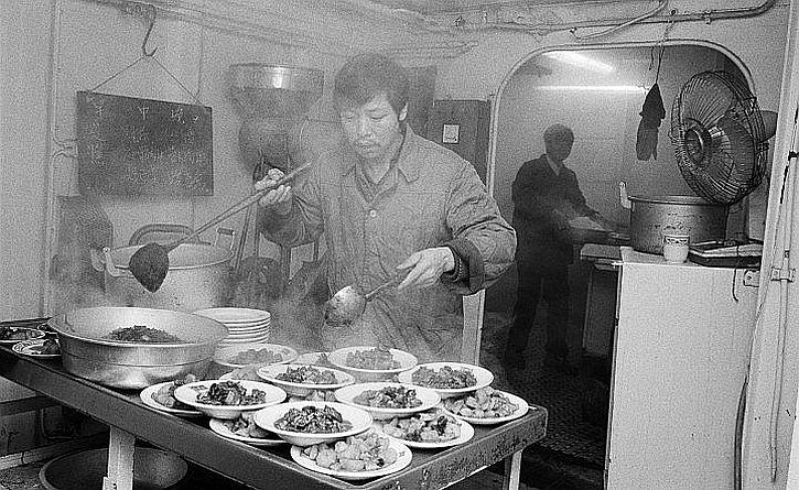 Martin Parr, Liverpool -Kitchen on ship docked in Gladstone Dock,1984