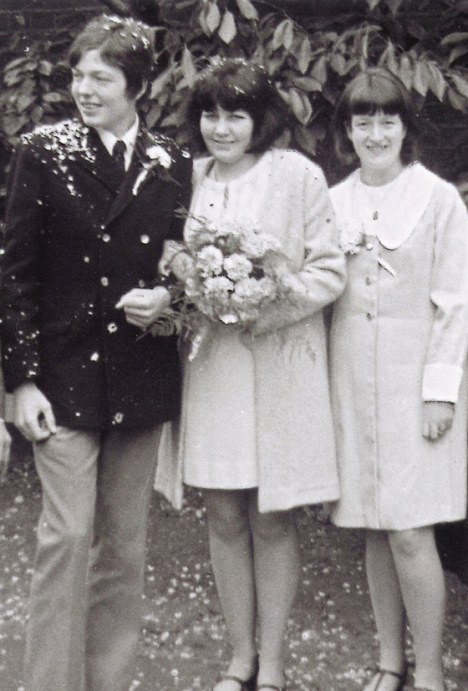 Alan Johnson at his first wedding, his sister Linda right