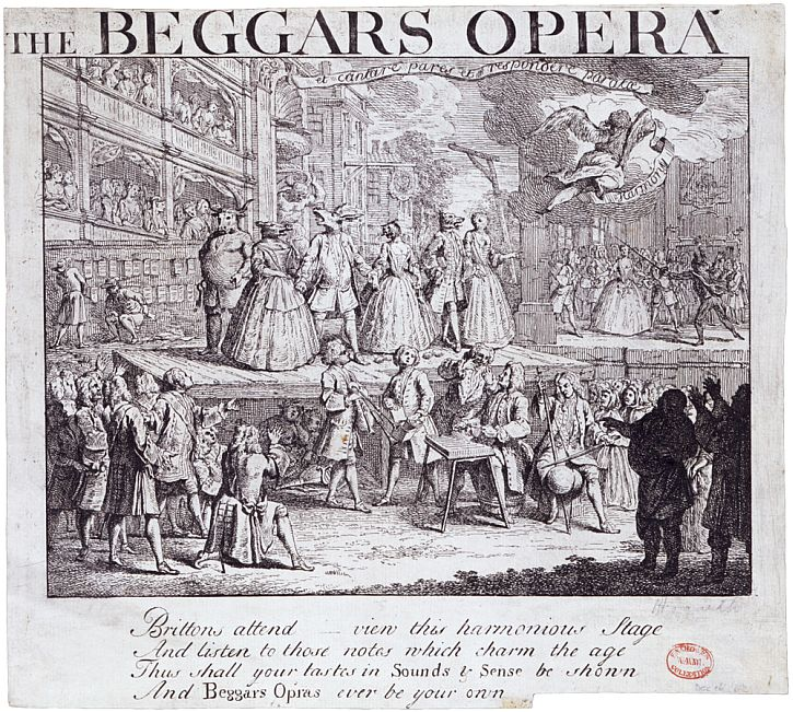 engraving by Hogarth shows a burlesque of John Gay's popular ballad opera The Beggar's Opera. The engraving shows the actors in the middle of one of the songs, sending up the characters by using animal masks.