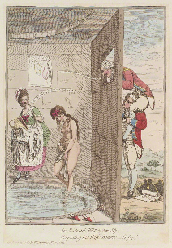 Sir Richard Worse-than-sly, exposing his wife's bottom; - o fye!' by James Gillray