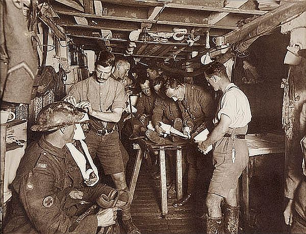 Attending to wounded in the advanced dressing station on Hill 60