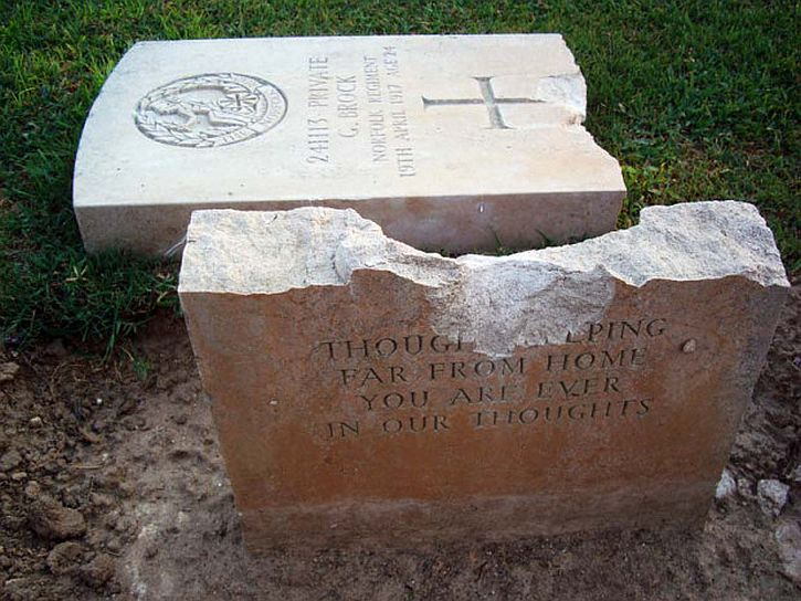 Deir al-Balah cemetery damaged headstone