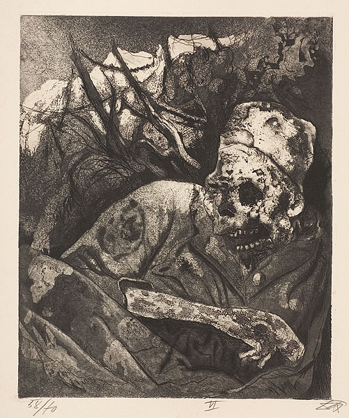 Otto Dix, 'Corpse caught up in barbed wire (Flanders)