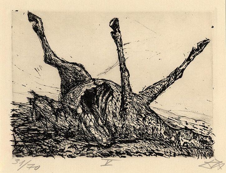 Otto Dix, Der Kreig, Corpse of a horse