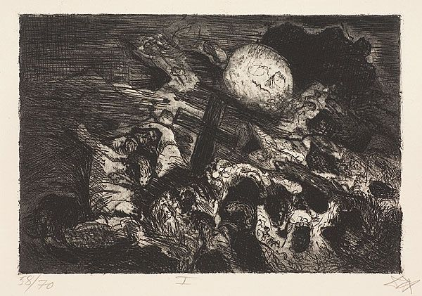 Otto Dix, Der Kreig, Soldier's grave between the lines