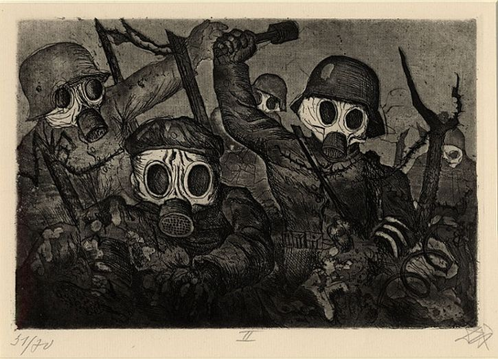 Otto Dix, Der Kreig, Stormtroops advancing under a gas attack