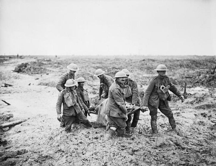 PilckemRidge1August1917 British stretcher bearers carrying wounded in deep mud near Boezinge