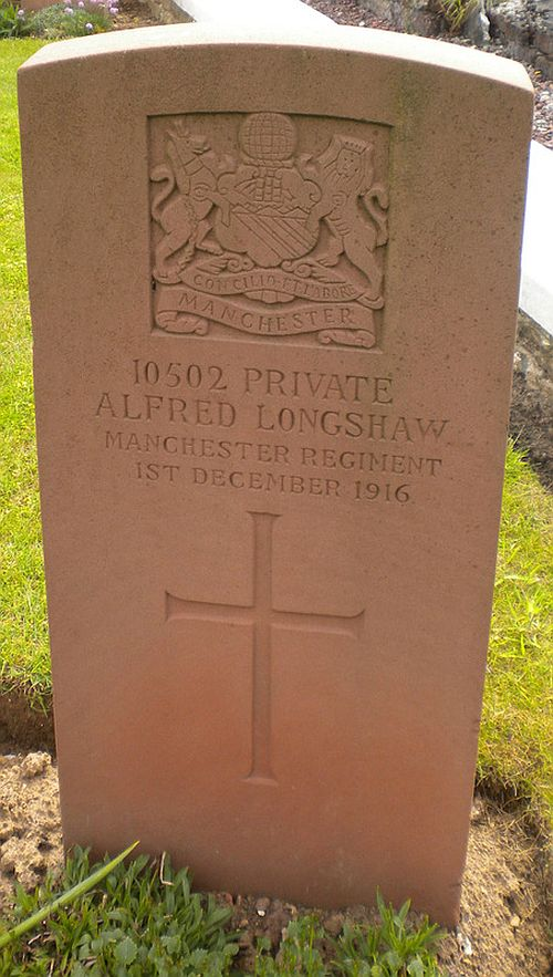Private Alfred Longshaw's grave at Bailleulmont