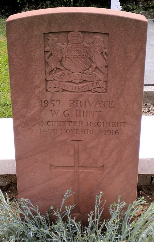 The grave of Private William Hunt at Bailleulmont