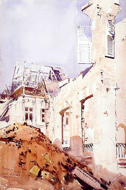 Ruins in Peronne, Hôtel de Ville, Arthur Streeton watercolour with pencil