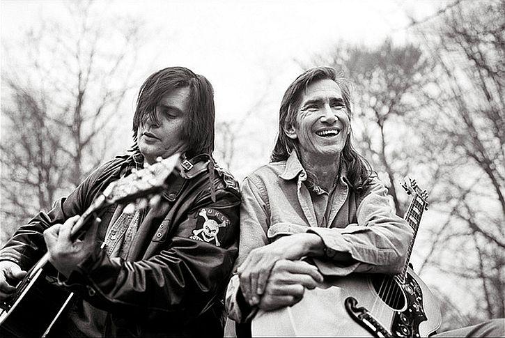 Steve Earle, left, with Townes Van Zandt in the 1990s