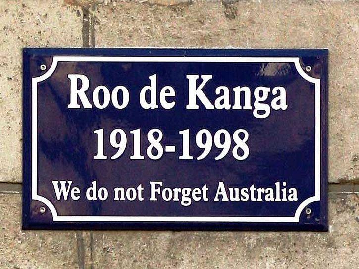 Street sign 'Roo de Kanga', Péronne