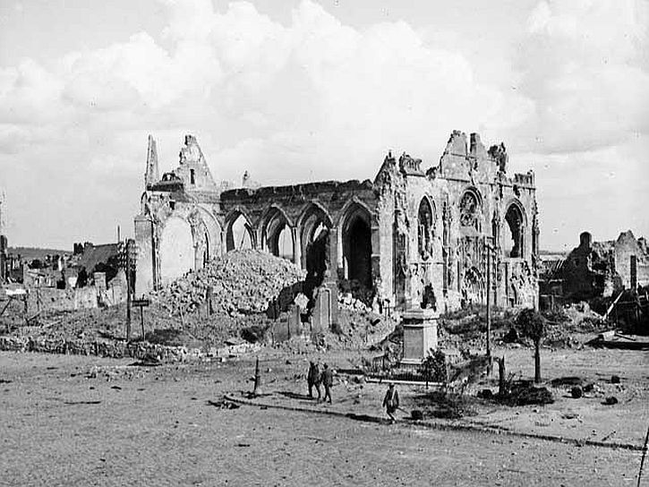 The ruined church, Péronne, France, 5 September 1918