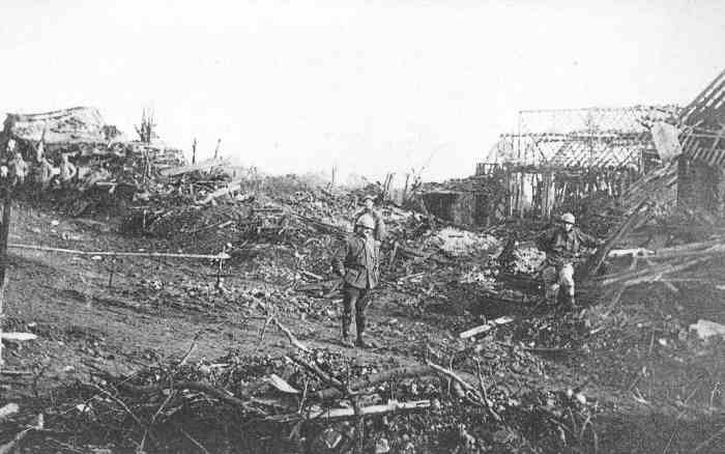 The ruins of Thiepval village, 1917