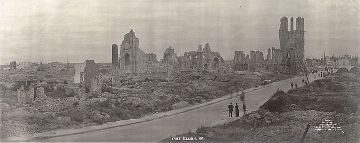 The ruins of Ypres and the Menin road, 1918