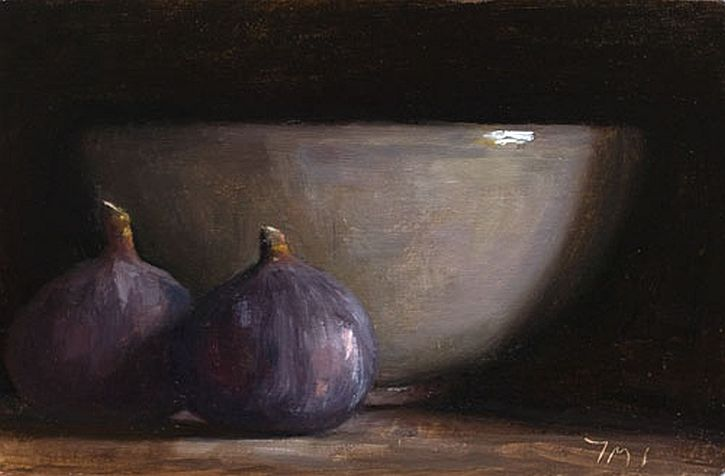 Julian Merrow-Smith, Still life with figs and grey bowl