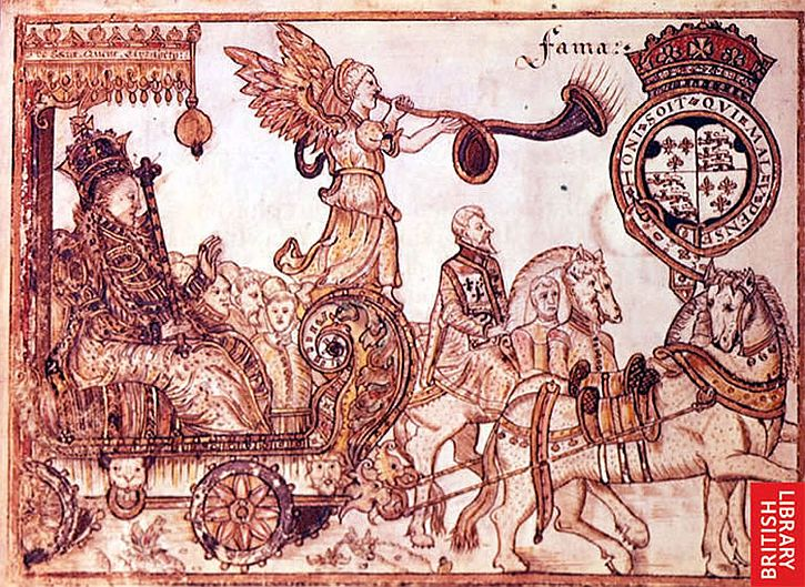 Queen Elizabeth, attended by Fame, and a Herald of Arms, riding in an elaborate chariot. Sir William Teshe, England 1570.