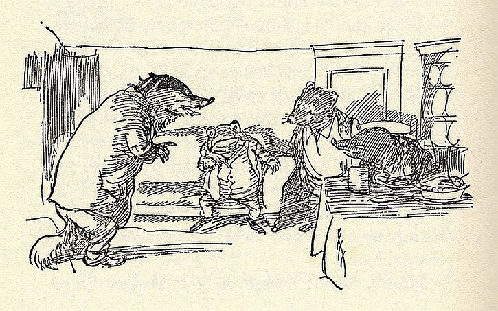 Badger, Toad, Rat and Mole from Kenneth Grahame's The Wind in the Willows. Illustrations by E. H. Shepard.