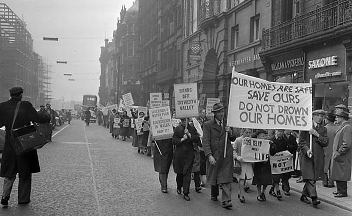 Protest in Liverpool attempting to stop the flooding of the Tryweryn Valley, 1965