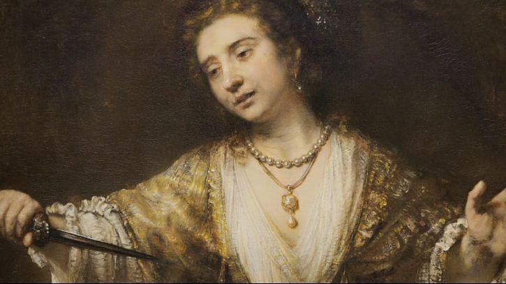 Rembrandt Lucretia 1664 detail