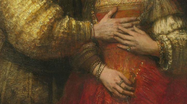 Rembrandt The Jewish Bride (detail hands)