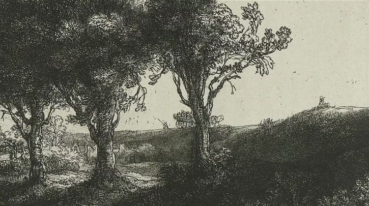 Rembrandt Three Trees, detail 1643