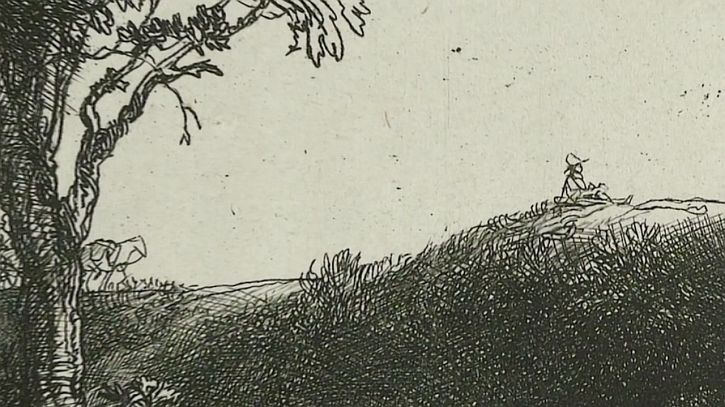 Rembrandt Three Trees, detail painter 1643